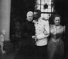 From left: Grand Duchess Alexandra Iosifovna of Russia, her son Grand Duke Konstantine Konstantinovich of Russia, and her daughter Queen Olga of Greece