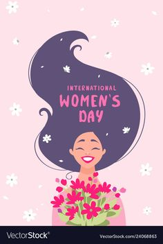 Red happy girl with long hair and flowers Vector Image Happy Girls Day, Happy Woman Day, Women's Day 8 March, 8th Of March, Hair Illustration, Watercolor Illustration, Happy Womens Day Quotes, Women's Day Cards, Happy Fathers Day Images