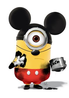 Mickey Minion by danps Hey, this is Mickey Minion. For so long I have this idea, today I finally had time to paint this awesome Mickey, no, Minion. Image Minions, Cute Minions, Minions Despicable Me, My Minion, Minions 2014, Minion Stuff, Minion Banana, Funny Minion, Minion Party