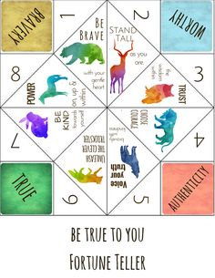 Self-Esteem Building / Positive Affirmation Fortune Teller / Cootie Catcher Game designed to remind children and teens they are lovable, worthy, and belong.