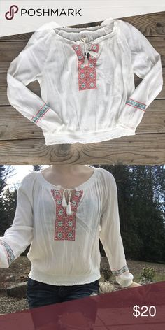 Beach Boho Top Off white boho beach Top. Red & blue details. Brand new!!  {Model picture is a quick idea, size listed is the correct size} Not Buckle • No Trades • Price is firm unless Bundled • 15% off of bundles of 3 or more • Buckle Tops