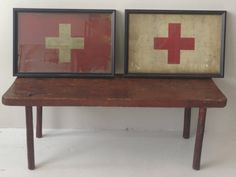 Pair of Framed Vintage Red Cross Flags by LikeandKind on Etsy, $500.00