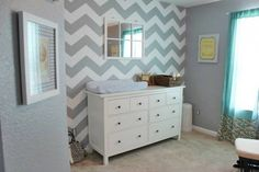 Stencil an accent wall using the Chevron Stencil from Cutting Edge Stencils. http://www.cuttingedgestencils.com/chevron-stencil-pattern.html #chevron