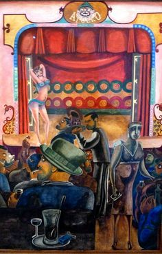 Edward Burra: Striptease, Harlem (1934) watercolour on paper.    In April 2011 Frank and Cherryl Cohen - internationally known as collectors of contemporary art lent their collection of modern British paintings and sculpture for an exhibition in the Ne ...(See the latest #Artistic installations in     New York with https://www.artexperiencenyc.com