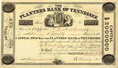 Planters Bank of Tennessee, Nashville, Tn., Aktie von 1868 + HOCHDEKORATIV!