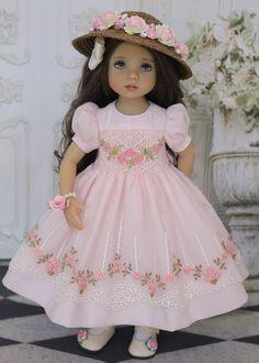 "Smocked Dress Ensemble Effner 13"" Little Darling by Doll Heirloom Designs #DollHeirloomDesigns"