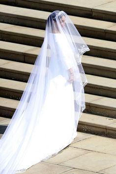 Meghan Markle's dress is designed by Clare Waight Keller for Givenchy, and the veil represents the distinctive flora of each of the 53 Commonwealth countries united in one floral composition.