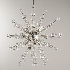 "9 Light Crystal Superstar Sputnik Chandelier Polished nickel rods and crystal globes radiate out from a center globe for a blast of modern elegance. 9x40 watts candle sockets. (24""Hx35""W)"