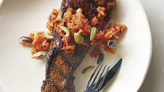 Spice-Rubbed Steaks with Grilled Gazpacho Sauce - Recipe - FineCooking