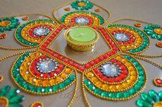 Diwali Rangoli Diwali Table Decor Rangoli in Orange Green by Likla, $35.00