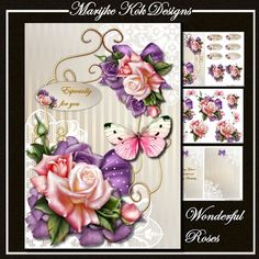 Very beautiful chique design with gorgeous pink and purple roses, pretty bow, sweet butterflies on a satin lace   backing paper with vintage frame.  3 sheets to print, 2 inserts , one with text....Wishing you a wonderful and happy birthday....and one insert without text.  For any occasion