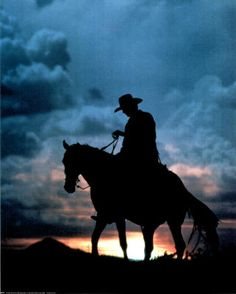 Horse & rider in silhouette against the sky