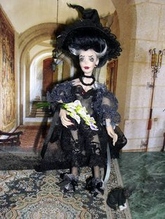 Halloween Dollhouse Miniature Witch Bride by LoreleiBlu on Etsy, $90.00
