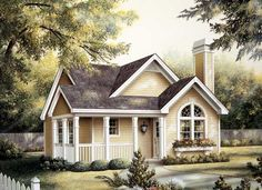 Cottage Style House Plans - 1084 Square Foot Home , 1 Story, 2 Bedroom and 2 Bath, 0 Garage Stalls by Monster House Plans - Plan 77-230