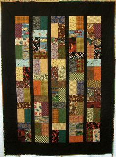 Joseph Lap Quilt - using squares (these are all manly fabrics! Scrappy Quilt Patterns, Batik Quilts, Lap Quilts, Scrappy Quilts, Small Quilts, Mini Quilts, Jellyroll Quilts, Man Cave Quilts, Rail Fence Quilt