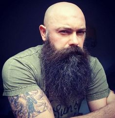 for men who love long bearded men Bald Head With Beard, Bald Men With Beards, Grey Beards, Long Beards, Badass Beard, Epic Beard, Full Beard, Crazy Beard, Men Beard