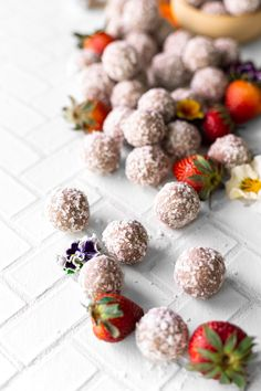 These strawberry coconut energy bites are gluten-free and nut-free! They are an easy and healthy snack to have on hand at home. Recipe by A Simple Pantry. Healthy Strawberry Recipes, Healthy Snacks, Healthy Eating, Energy Bites, Nut Free, Vegan Vegetarian, Glutenfree, A Food, Pantry