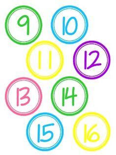 CIRCLE NUMBERS IN FUN COLORS 1-30 - TeachersPayTeachers.com