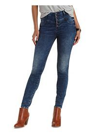 "Refuge ""Hi-Waist Super Skinny"" Dark Wash Jeans"