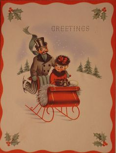 A cute vintage couple dashing through the snow. #cute #vintage #Christmas #cards