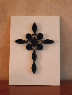 Quilled Gothic Cross Paper Filigree  Home decor by ApinchOfJoy