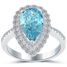 3.49 Carat Fancy Blue Pear Shape Natural Diamond Engagement Ring 14k White Gold