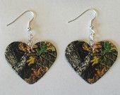 Mossy Oak Camo Camouflage Heart shaped earrings country girl love jewelry It's is what ur bridesmaids should wear :)