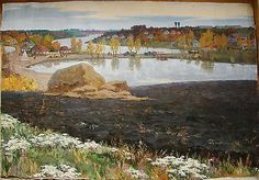 Russian Ukrainian Soviet Oil Painting Impressionism Landscape Ground ...