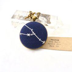 Zodiac Jewelry Taurus Constellation Embroidery Necklace in Cross Stitch jewelry