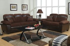 Captivate your guests with this stylish chocolate colored microfiber sofa set with oversized arm, back and leg supports.  Sofa & Love Seat Set Sale for $930