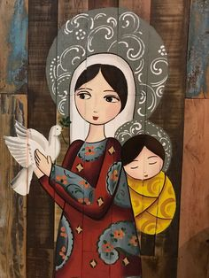 Mary and Jesus Religious Icons, Religious Art, Images Of Mary, Blessed Mother Mary, Holy Mary, Mary And Jesus, Madonna And Child, Catholic Art, Mexican Folk Art