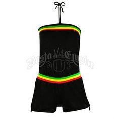 Rasta Stripe Tube Top Romper - Black