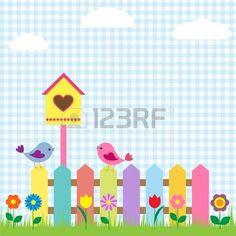 Arri�re-plan avec les oiseaux et voli�re photo Baby Set, Decoration Creche, Cute Birthday Cards, Spring Birds, Cute House, School Decorations, Diy Ribbon, Motif Floral, Colorful Birds