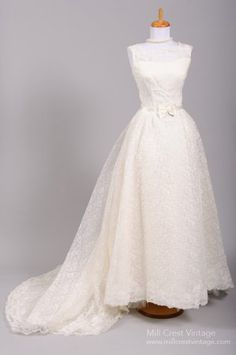 Vintage 60's Audrey Hepburn style lace wedding gown