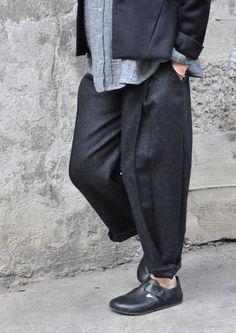 Pleated trousers, grey wool drap