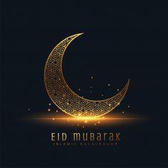 Beautiful eid mubarak golden decorative moon vector image on VectorStock Images Eid Mubarak, Eid Mubarak Pic, Mubarak Ramadan, Eid Mubarak Wishes, Eid Mubarak Greetings, Happy Eid Mubarak, Ramadan Greetings, Eid Background, Eid Mubarak Background
