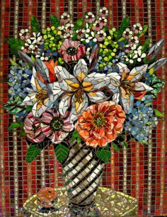 Striped Wallpaper Glass Mosaic Art of a floral arrangement with a background of striped red wallpaper.