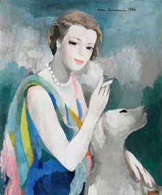 Marie Laurencin(1883ー1956) I like the soft colors that are used and that no bold share lines are used.  Everything from the women's face to the fur on the dog everything looks smooth and soft.