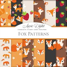 Cute Fox Seamless Pattern Scrapbook printables, Autumn digital paper set for Commercial Use. Fall - Spring Animals foxes graphics