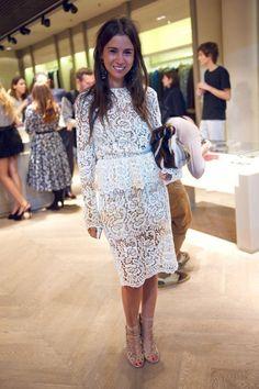 white lace beautiful dress women style summer fashion