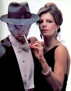 Milestone Monday: Sept 81: Ronald Winston (son of Harry) affects the posture of a Dashiell Hammett character. His companion is Princess Yasmin Aga Khan.