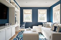 White and blue family room
