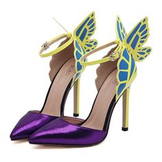 Dreamlike Butterfly Wings High Heel Pointed Sandals purple -- Find out more about the great product at the image link.