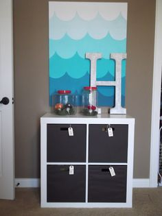 Love the canvas if K chooses a shark/ocean theme for his room!