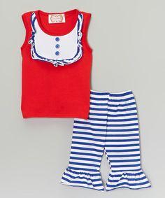 Look what I found on #zulily! Red & Blue Bib Top & Pants - Toddler & Girls #zulilyfinds
