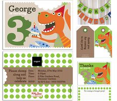 A roaringly fabulous dino themed invite - can be perosnalised for the little man in your life