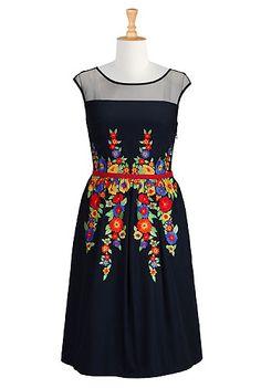 I <3 this Vibrant floral illusion dress from eShakti