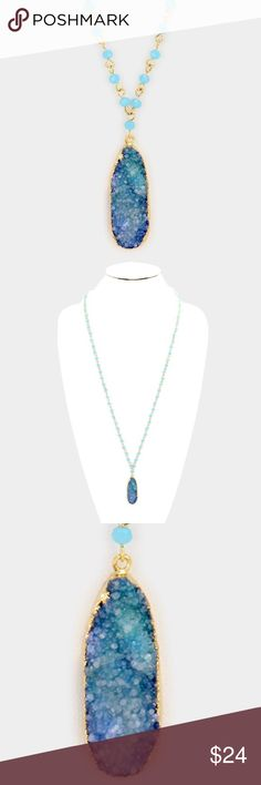 "Druzy Stone Pendant Necklace • Necklace Size : 30"" + 3"" L • Pendant Size : 0.5"" X 1.5"" • Raw druzy pendant & long glass bead strand necklace Jewelry Necklaces"