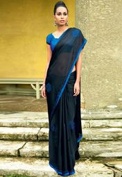 Vishal Satin Black Embroidered Saree Online Shopping Store