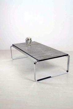 Lange, zware salontafel met chromen frame / Heavy and long, chrome, coffee table 81550